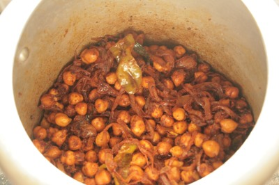 Chana mixed with Masala mixture.